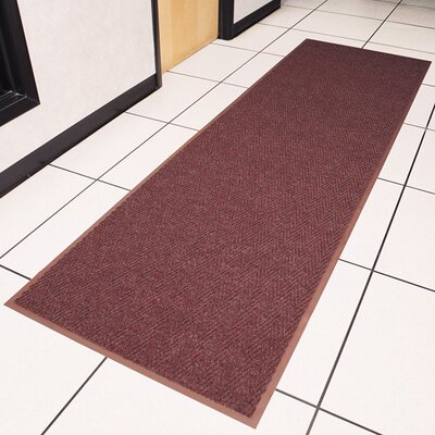 Chevron Doormat Color: Burgundy, Size: Runner 3 x 10