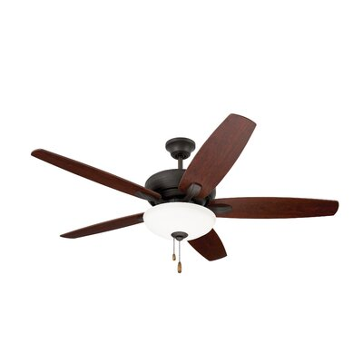 52 Millfield 5 Blade Ceiling Fan Finish: Oil Rubbed Bronze with Dark Cherry and Walnut blad