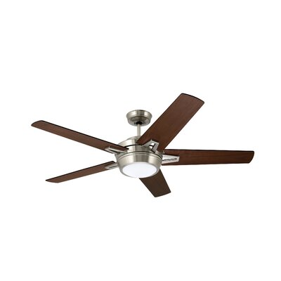 54 Moore 5 Blade Ceiling Fan Finish: Brushed Steel with Dark Mahogany and Walnut Blades