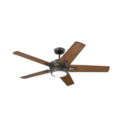 54 Moore 5 Blade Ceiling Fan Finish: Vintage Steel with River Wash and Walnut Blades