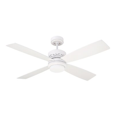 50 Milledgeville 4 Blade Ceiling Fan Finish: Satin White with Satin White and Maple Blades