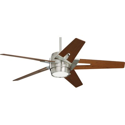 54 Karla 5 Blade Ceiling Fan Blade Finish: Walnut, Motor Finish: Brushed Steel