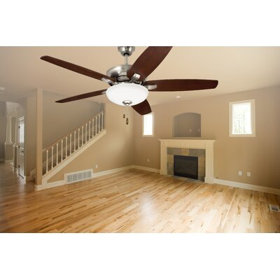 52 Millfield 5 Blade Ceiling Fan Finish: Brushed Steel with Dark Cherry and Walnut Blades