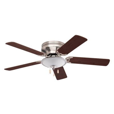 52 Williamson 5 Blade Ceiling Fan Blade Finish: Brushed Steel, Motor Finish: Brushed Steel