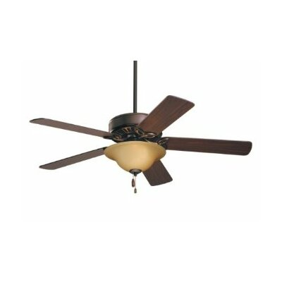 50 Millbank Pro Series ES 5 Blade Ceiling Fan Finish: Oil Rubbed Bronze with Cherry/Medium Oak Blades, Glass Type: Amber Scavo Glass