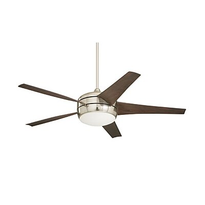 54 Clarington 5 Blade LED Ceiling Fan with Remote Finish: Brushed Steel with Midnight Bordeaux Blades