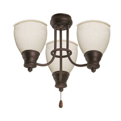 Three Light Ceiling Fan Light Fitter Finish: Appliance White