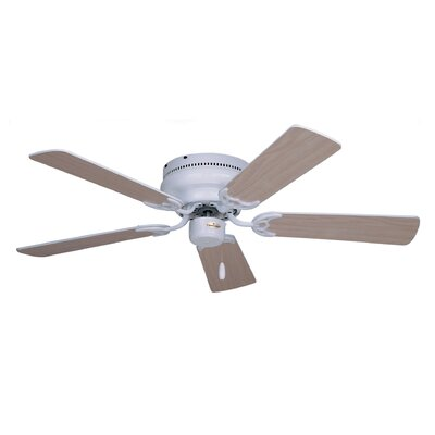 42 Contemporary Snugger 5-Blade Ceiling Fan Finish: Appliance White with Bleached Oak Blades