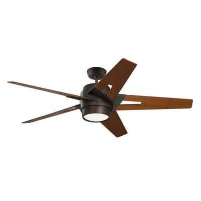 54 Karla 5 Blade Ceiling Fan Blade Finish: Walnut, Housing finish: Oil Rubbed Bronze