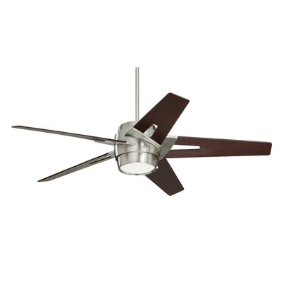 54 Karla 5 Blade Ceiling Fan Blade Finish: Dark Mahogany, Motor Finish: Brushed Steel