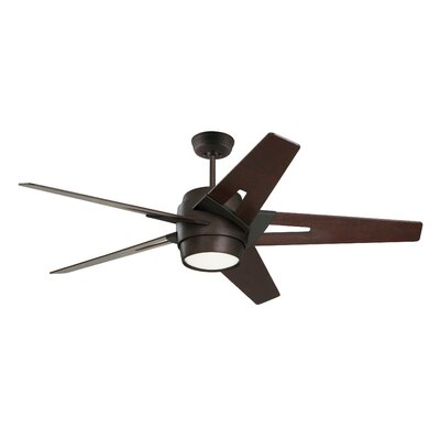 54 Hamlet 5 Blade LED Ceiling Fan Finish: Oil Rubbed Bronze with Dark Mahogany Blades