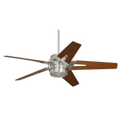 54 Hamlet 5 Blade LED Ceiling Fan Finish: Brushed Steel with Walnut Blades