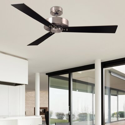 52 Bai 3-Blade Ceiling Fan Finish: Brushed Steel Finish W/ Steel and Black Blades