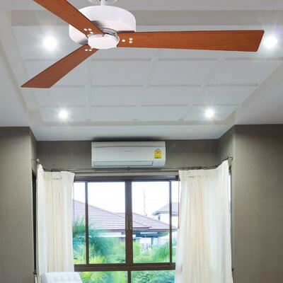 52 Keane 3-Blade Ceiling Fan Finish: Satin White Finish W/ Cherry and Walnut Blades