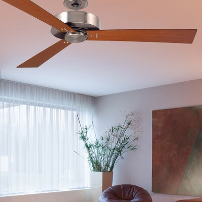 52 Bai 3-Blade Ceiling Fan Finish: Brushed Steel Finish W/ Cherry and Walnut Blades