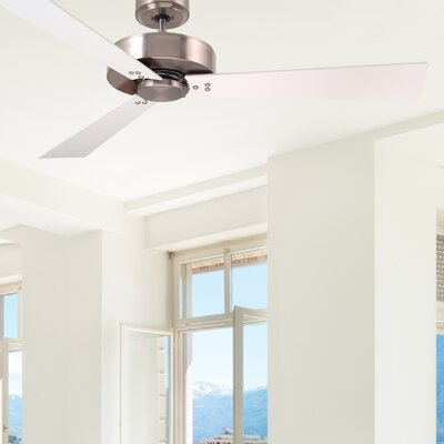 52 Bai 3-Blade Ceiling Fan Finish: Brushed Steel Finish W/ White and Maple Blades