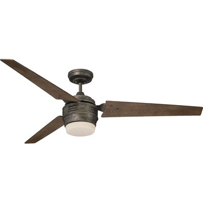 60 Maui 3 Blade LED Ceiling Fan Finish: Vintage Steel with Riverwash Blades