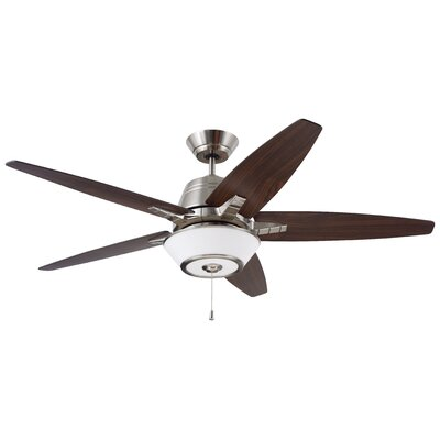 56 Euclid 5 Blade Ceiling Fan Finish: Brush Steel with Walnut/Natural Cherry Blades