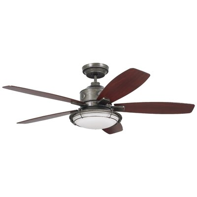 54 Jeanine 5 Blade Outdoor Ceiling Fan Finish: Vintage Steel with Walnut Blades