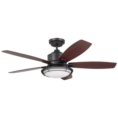 54 Jeanine 5 Blade Outdoor Ceiling Fan Finish: Oil Rubbed Bronze with Walnut Blades