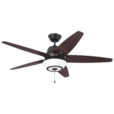 56 Amundsen 5 Blade Ceiling Fan Finish: Oil Rubbed Bronze with Cherry/ Mahogany Blades