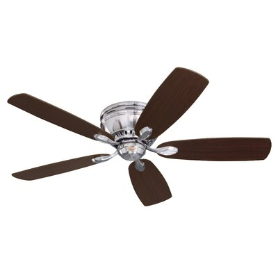 52 5 Blade Ceiling Fan Finish: Brushed Steel with Cherry/Chocolate Blades