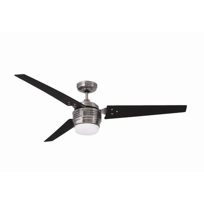 60 Maui 3 Blade LED Ceiling Fan Finish: Brushed Steel with Chocolate Blades