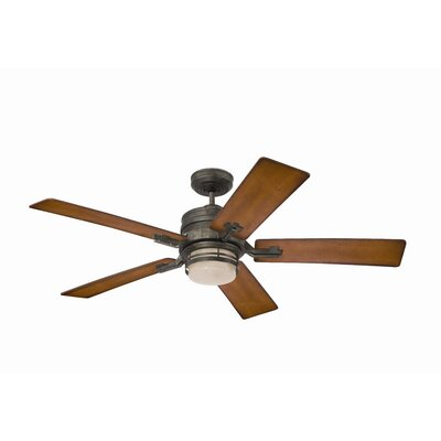 54 Transitional Amhurst 5-Blade Ceiling Fan Finish: Vintage Steel with Dark Cherry Blades