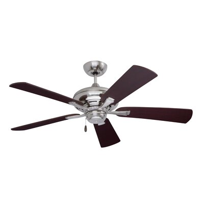 52 Carolina 5 Blade Ceiling Fan Finish: Brushed Steel with Mahogany Blades