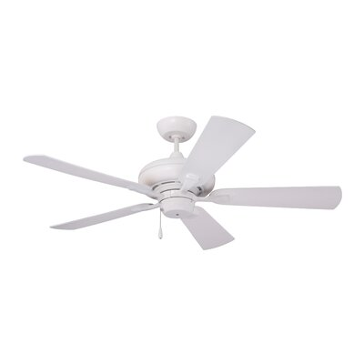 52 Carolina 5 Blade Ceiling Fan Finish: Satin White with Maple Blades