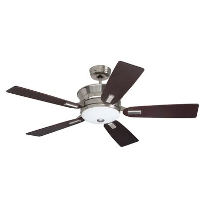 52 Pickering 5 Blade LED Ceiling Fan Finish: Brushed Steel with Dark Mahogany Blades