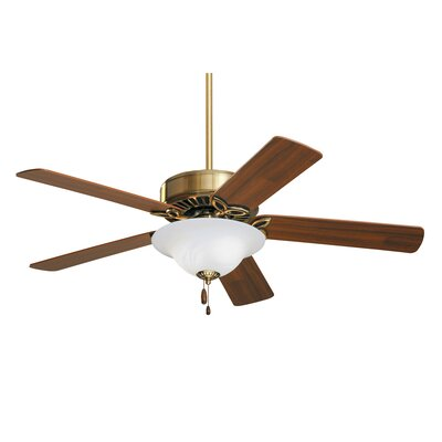 50 Kaley Ceiling Fan Finish: Antique Brass with Oak / Walnut Blades, Glass Type: Alabaster Swirl Glass