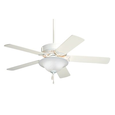 50 Kaley Ceiling Fan Finish: Appliance White with White Blades, Glass Type: Alabaster Swirl Glass