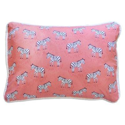 Zebra Parade Throw Pillow Color: Coral