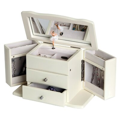 Angelica Girl's Musical Ballerina Jewelry Box Color: White