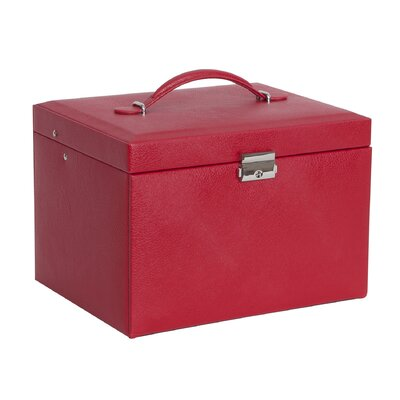 Mele & Co. Raleigh Drop Front Locking Faux Leather Jewelry Box - Color: Red