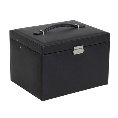 Mele & Co. Raleigh Drop Front Locking Faux Leather Jewelry Box - Color: Black