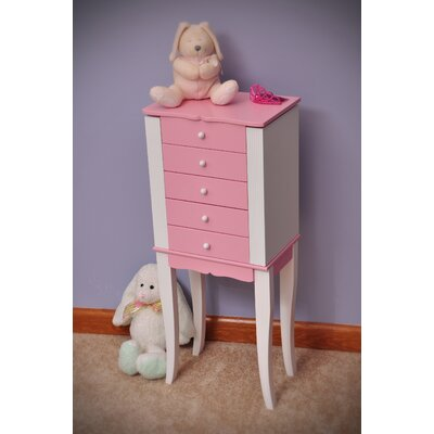 Louisa Girls Jewelry Armoire in Pink and White