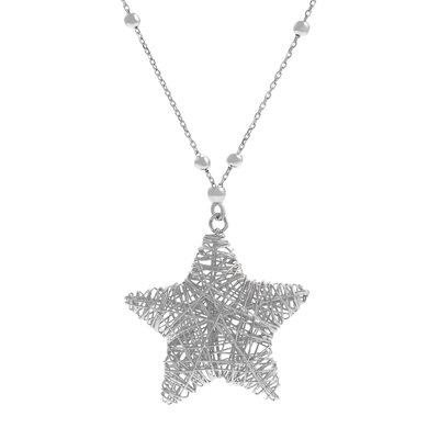 Sterling Silver Wired Star Necklace