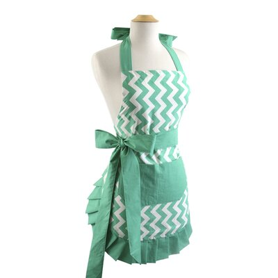 Chevron al Bow Women's Apron Color: Green