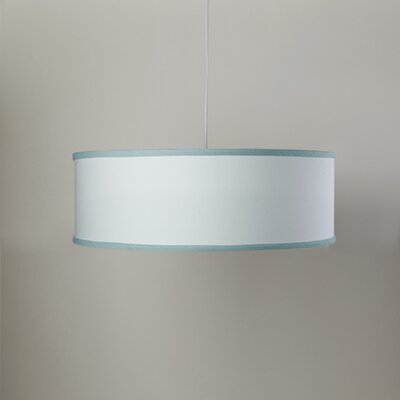 White Shallow 3-Light Cylinder Pendant Shade Color: White/Aqua