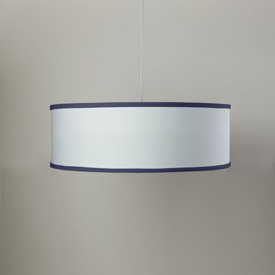 White Shallow 3-Light Cylinder Pendant Shade Color: White/Cobalt Blue
