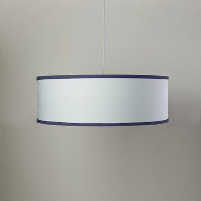 White Shallow 3-Light Cylinder Pendant Shade Color: White/Cobalt Blue