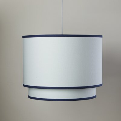 3-Light Double Cylinder Pendant Shade Color: Cobalt Blue Trim