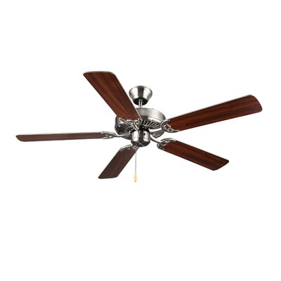 52 HomeBuilder I 5 Blade Ceiling Fan Finish: Brushed Steel
