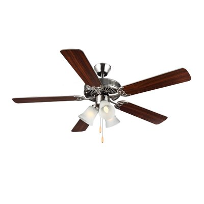 52 HomeBuilder III 5 Blade Ceiling Fan Finish: Brushed Steel