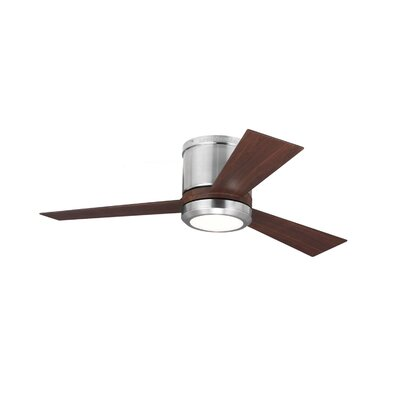 42 Clarity II 3 Blade Ceiling Fan Finish: Brushed Steel with Brown Blades