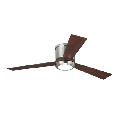 52 Clarity 3 Blade Ceiling Fan Finish: Brushed Steel with Brown Blades