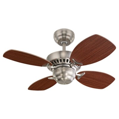 28 Stewardson 4-Blade Ceiling Fan Finish: Brushed Steel with Mahogany Blades