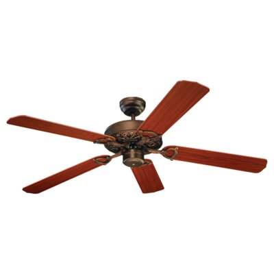 52 Ornate 5-Blade Ceiling Fan Finish: Roman Bronze with Teak Blades
